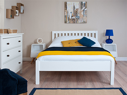 Wooden and metal bed frames